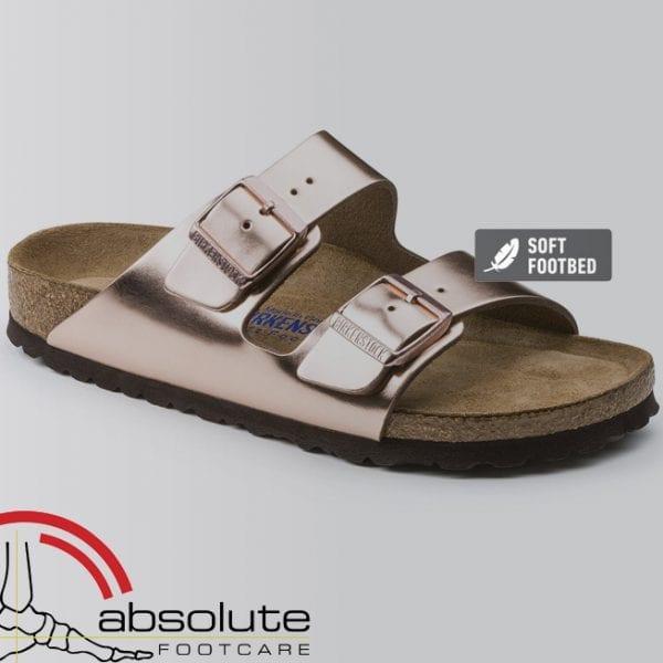 Birkenstock Arizona Natural Leather Soft Footbed Metallic Copper Narrow Fit 752723